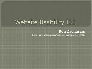 Website Usability 101