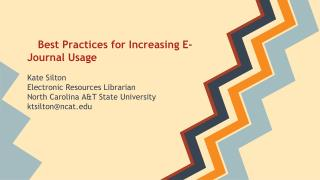 Best Practices for Increasing E-Journal Usage
