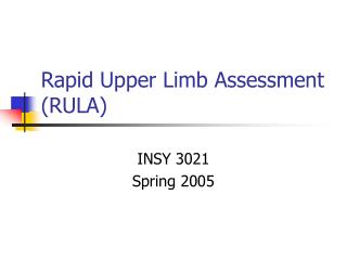 Rapid Upper Limb Assessment RULA