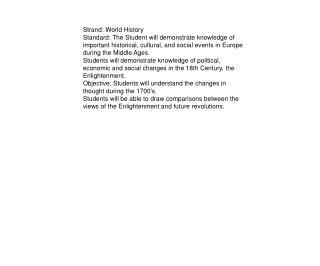 Strand: World History