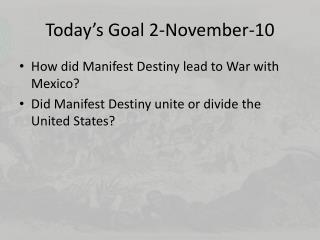 Today's Goal 2-November-10