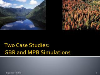Two Case Studies:   GBR  and  MPB Simulations
