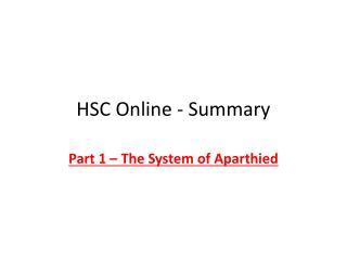 HSC Online - Summary