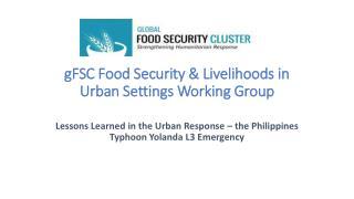 gFSC Food Security & Livelihoods in Urban Settings Working Group