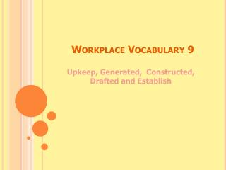 Workplace Vocabulary 9