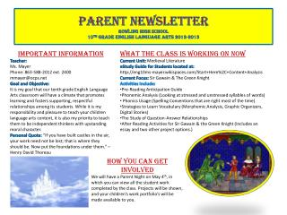 Parent Newsletter Rowling High School 10 th  Grade English Language Arts 2012-2013