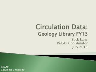 Circulation Data:  Geology Library FY13