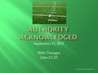 Authority acknowledged