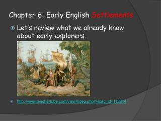 Chapter 6: Early English  Settlements