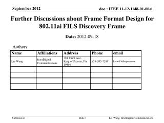 Further Discussions about Frame Format Design for  802.11ai FILS Discovery Frame