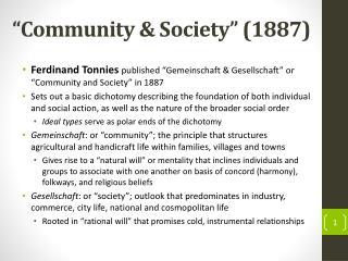 """""""Community & Society"""" (1887)"""