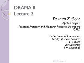 DRAMA II Lecture 2