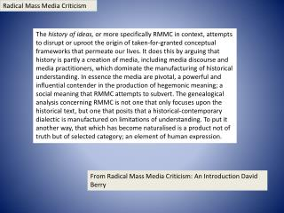 Radical Mass Media Criticism