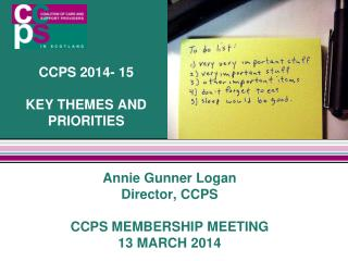 CCPS 2014- 15 KEY THEMES AND PRIORITIES