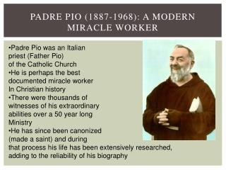 Padre Pio (1887-1968): A Modern Miracle Worker
