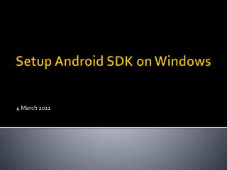 Setup Android SDK on Windows