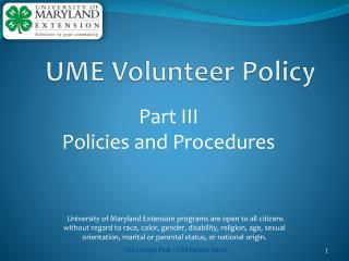 Part  III  Policies and Procedures