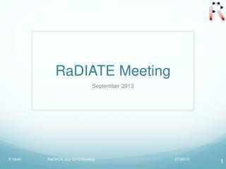 RaDIATE Meeting