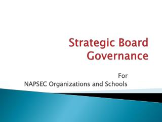 Strategic Board Governance