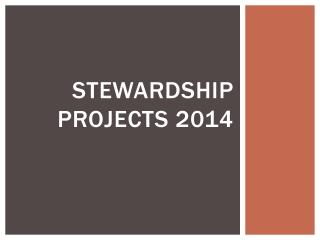 Stewardship Projects 2014