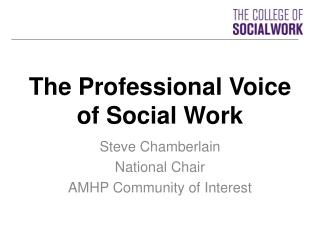 The Professional Voice of Social Work