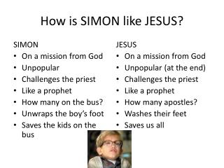 How is SIMON like JESUS?