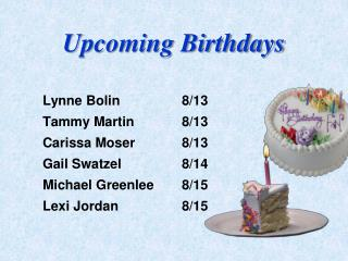 Upcoming Birthdays
