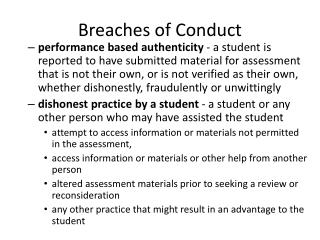 Breaches of Conduct