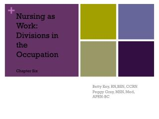 Nursing as Work: Divisions in the Occupation Chapter Six