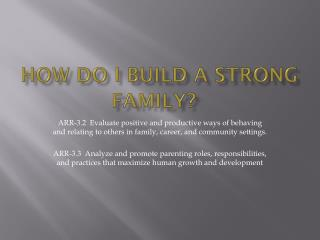 How do I Build a Strong Family?