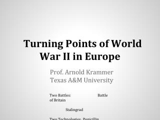 Turning Points of World War II in Europe