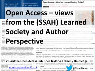Open Access – views from the (SSAH) Learned Society and Author Perspective