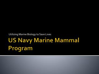 US Navy Marine Mammal Program