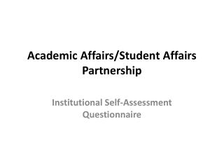 Academic Affairs/Student Affairs Partnership
