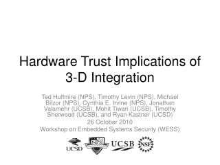 Hardware Trust Implications of 3-D Integration