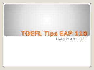 TOEFL Tips EAP 110