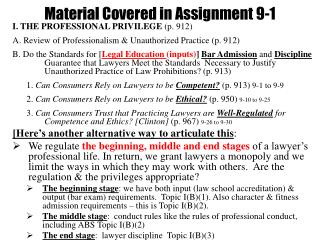 Material Covered in Assignment 9-1