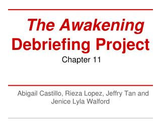 The Awakening  Debriefing Project