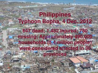 Philippines Typhoon Bopha, 4 Dec. 2012