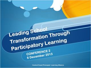 Leading  School Transformation Through Participatory  Learning