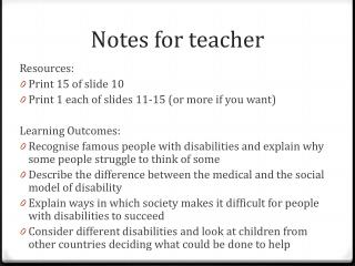Notes for teacher