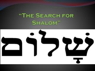 """The  Search for Shalom """