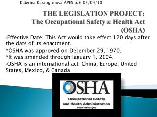 a paper on the purpose of occupational safety and health act A health and safety policy ensures that the employer complies with the occupational safety and health act and relevant state legislation it provides guidelines for establishing and implementing programs that will reduce workplace hazards, protect lives and promote employee health.