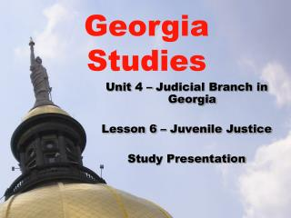Unit  4 –  Judicial Branch in Georgia Lesson 6 – Juvenile Justice Study Presentation