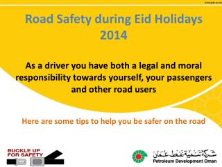 Road Safety during Eid Holidays  2014