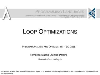 Loop Optimizations