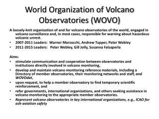 World Organization of Volcano Observatories (WOVO)