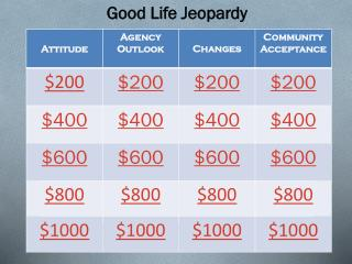 Good Life Jeopardy