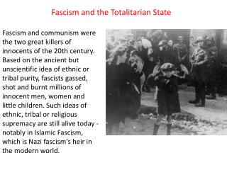 Fascism and the Totalitarian State