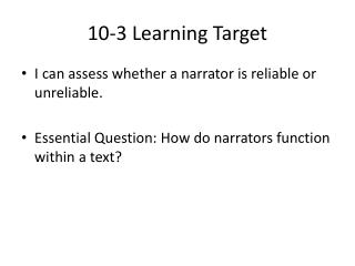 10-3 Learning Target